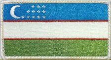 Uzbekistan Flag Military Patch With VELCRO® Brand Fastener White Border #7