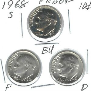 1968-D+P+S Three Roosevelt Dimes From a Mint Set & S From Proof Set!