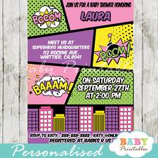 Superhero Retro Comic Book Baby Shower Invitation Girls - Printable Digital File