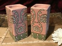 2 Asian Porcelain CandleStick Holders Candle Holders Pink Floral Design 5 3/4""