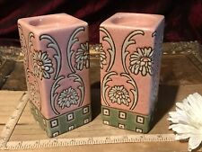 "2 Asian Porcelain CandleStick Holders Candle Holders Pink Floral Design 5 3/4"""