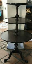 Antique English Wood Brown Style 3 Tier Clawfoot Dumbwaiter Pie Crust Side Table