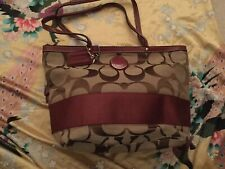 Coach Signature Stripe Tote SV / Khakis/ Cranberry F19046 NWT. AS IS