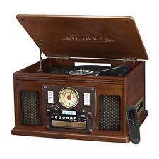 Victrola Nostalgic Aviator Wood 8-in-1 Bluetooth Turntable Entertainment Center