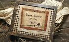 """Primitive Country Stitchery Home Decor 8x10 FRAMED """"Come Gather"""" Embroidery"""