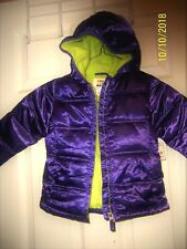 NWT GIRLS HOODED JACKET SZ 24 MO PURPLE AND LIME GREEN