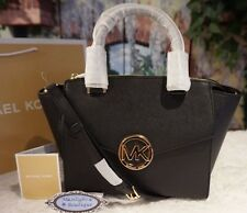 NWT Michael Kors HUDSON MD Satchel Crossbody Handbag BLACK Saffiano Leather $368