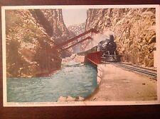 Phostint postcard 9057 Hanging Bridge Royal Gorge, CO - Detroit Publishing Co.