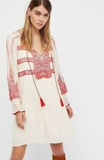 NWT FREE PEOPLE WIND WILLOW Embroidered  Bohemian Mini Peasant Dress Large $148