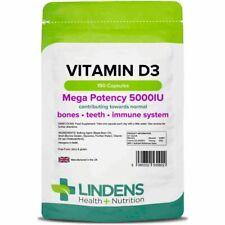 Lindens High Strength 5000iu Vitamin D3 3-PACK 450 Capsules D 3 D-3 Sun Sunshine