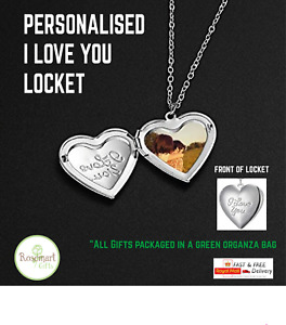 Personalised i love you Locket Photo Necklace Picture Pendant Valentines Gift