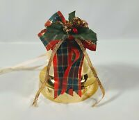 Vtg Christmas Plastic Bell Musical Jingle Bells Ribbon Pinecones Holly Carolites