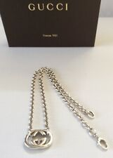 AUTH GUCCI DOUBLE G PENDANT NECKLACE BRITT STERLING SILVER 925