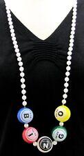 "Bingo Ball Round Bead Necklace 40"" 8mm Mardi Gras Beads Party Bingo Game New"