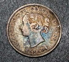 1886 Canada Semi Key 5 Cent Silver ! VF Details Better Coin ! Queen Victoria