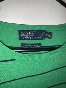 Ralph Lauren Polo Crew Neck Green/Navy Striped Pima Cotton Sweater Sized 2XL