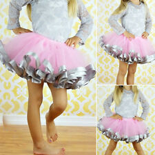 Girls Sweet Dancewear Skirt Tutu Baby Kids Party Ribbon Princess Dress 0-7Y