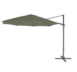 3.5M Hanging Cantilever Parasol Green 350cm Large Wide Base Frame Garden Outdoor