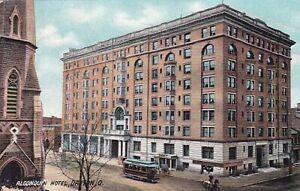Trolley Car Algonquin Hotel Dayton Ohio Postcard 1910