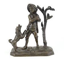 Continental Patinated Bronze figurine, 19th Century; Small Child w/ Dog & Tree