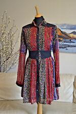 DIESEL Vinatge Collared Corset Dress LS Red Black Floral Pattern Sz XS