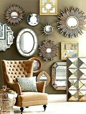 NEW SET OF 3 Sunburst Circle Round Wall Mirrors Distressed Antique Gold
