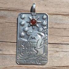 The Star Tarot Card Pendant .925 Sterling Silver w/ Genuine Carnelian gemstone