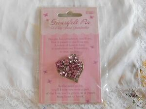 Heartfelt Pin Pink Rhinestone Butterfly Heart Pin For Special Grandmother