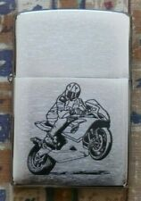 SPORTING MOTORCYCLE WHEELIE ZIPPO LIGHTER FREE P&P FREE FLINTS