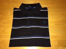 Fred Perry Mens S/S Polo Shirt Size Large Navy Blue White Striped M1251