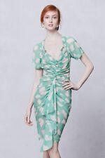 Figure Flattering Anthropologie BYRON LARS Gingko Ruched Sheath Green Dress 12