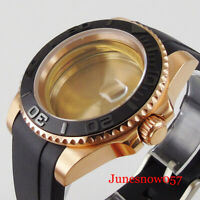 Rose Gold Watch Case for ETA 2836 MIYOTA 82 Rubber Band Black Brushed Insert