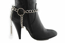 Women Western Boot Bracelet Silver Metal Chain Anklet Shoe Charm 3 Ways Big Ring