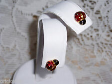 "Adorable Joan Rivers Red Signature Ladybug Pierced Earrings ""Xmas Sale"" New"