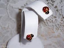 "Adorable JOAN RIVERS RED Signature LADYBUG Pierced Earrings ""XMAS SALE""  NEW"