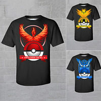 Pokemon Team Valor Mystic Instinct Pokeball T Shirts Round Neck Tops Tees Casual