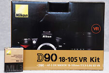 Nikon D90 Kit 18-105mm f/3.5-5.6G ED VR Lens Original Box Remote Control SD Card