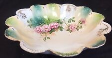 "Rare RS Prussia 9"" porcelain bowl scalloped rim, ""Red Mark.""  flowers gilt"