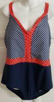 Mazu Swim Women's Plus Size 24W One Piece V Neck Tank Swimsuit Red White Blue