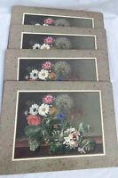 VTG Set of 4 Pimpernel FLORAL Placemats Flower Vase England Cork Back I.J Jensen