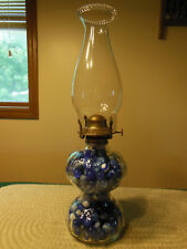 OVER 260 VINTAGE BLUE MARBLES IN CLEAR GLASS RIBBED OIL KEROSENE LAMP