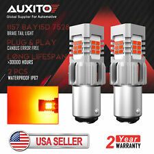 2X AUXITO 1157 BAY15D 24SMD Red LED Canbus Error Free Brake Tail Stop Light Bulb