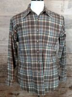 VTG 60's/70's Men's Pendleton Wool Brown Plaid Long-Sleeve Shirt Sz L EUC
