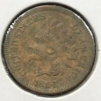 1866 Indian Head Cent 1c One Penny High Grade XF Details #10843