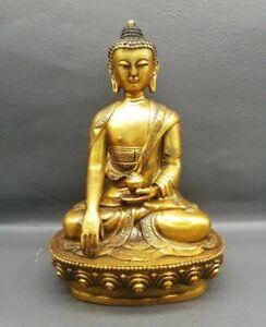 Collect Tibet Buddhism gilt copper sage Seat Shakyamuni Amitabha Buddha statue