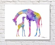 Giraffe and Baby Abstract Watercolor Painting Art Print by Artist DJ Rogers