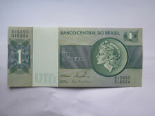BRASIL 1 CRUZEIRO BANK NOTE EXCELLENT UNCIRCULATED CONDITION c1970s