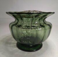 Rare Whitefriars Green Art  Nouveau Style Glass Pedestal Rose bowl.