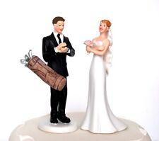 Groom Loves Golf Passionate & Crossed Bride Humorous Couple Wedding Cake Topper