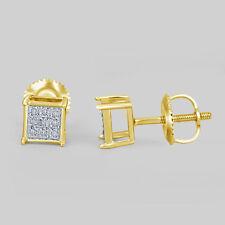 Womens Mens .07CT Real Diamond Yellow Gold Finish Stud Earrings Designer Square